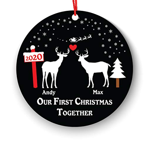 Our First Christmas Together Ornament Personalized, Lover Lesbian, Same Sex, First Christmas as Mrs & Mrs Ornament 2018, 1st 2nd Christmas Ornament First, Pride Couple Christmas Deer