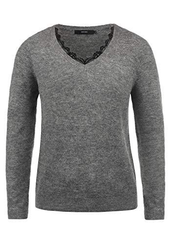 VERO MODA Lacey Damen Strickpullover Feinstrick Pullover Mit V-Ausschnit und Spitze, Größe:M, Farbe:Medium Grey Melange