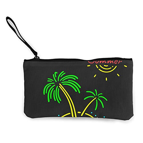 Moneda de lona, símbolo de neón, bolso de palmera con cremallera, bolsa de cosméticos de viaje multifunción para maquillaje, bolsa de teléfono móvil, paquete de lápices con asa