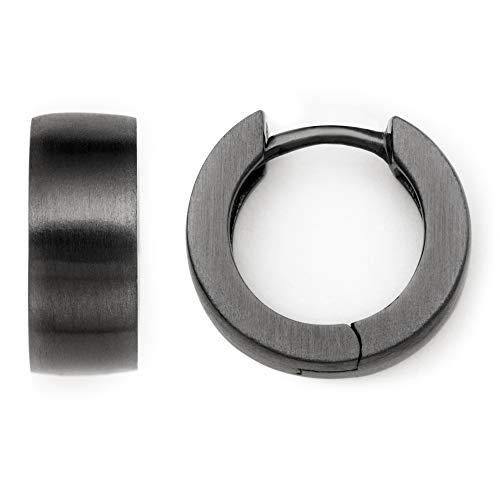 Heideman Ohrringe Damen Creole M aus Edelstahl schwarz matt Ohrstecker für Frauen Kreole Creolen mit Clip Mechanik runde Form