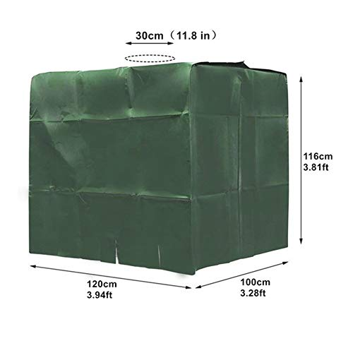 FYZS Cubierta Verde al Aire Libre for el Tanque de Agua de 1000 litros IBC envase del Papel a Prueba de Agua estabilizado UV-Anti-Polvo Cubierta 210D Oxford Tela