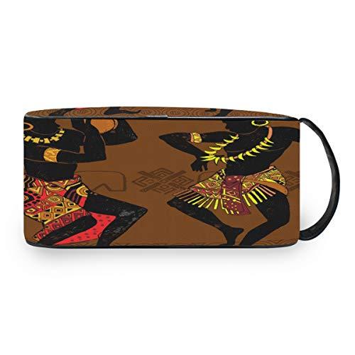 QMIN - Neceser portátil para artículos de tocador, diseño Tribal de Baile Africano
