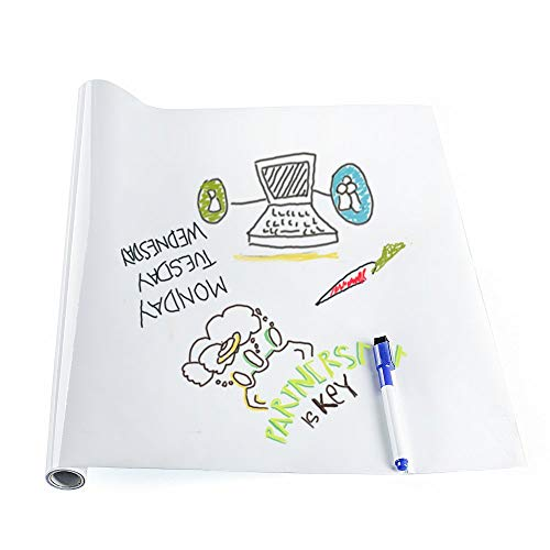 rabbitgoo Whiteboard Sticker Wall Paper Self Adhesive Large Wall Paper Dry Erase Message Board Wall Decal Peel and Stick Wallpaper for Home Office School with a Free Marker Pen, 17.7 x 78.7 inches