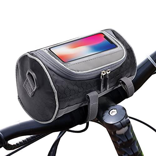 YADIMI Borsa Manubrio Bici,3L Borsa per Manubrio da Bicicletta con Impermeabile Touchscreen et Tracolla Rimovibile,Adatto per MTB,Bicicletta,Bici da Strada (Telefoni sotto 6 Pollici)