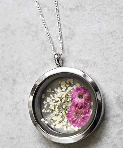 Kette Anhänger Blume Echt - Silber 925 Sterling - 60cm Halskette Blüten Medaillon Aufklappbar