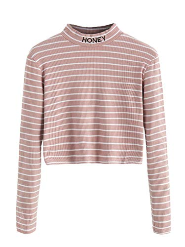 SweatyRocks Women's Mock Neck Embroidered Letter Long Sleeve Striped Crop Top T Shirt Pink X-Small