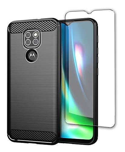SDTEK Hülle Hülle Für Motorola Moto G9 Play Full Body Front Und Back 360 Protection Carbon Fiber Cover Mit Gehärtetem Glas Bildschirmschutz