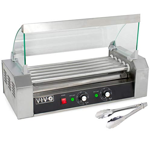 VIVO Electric 12 Hot Dog and 5 Roller Grill Warmer, Cooker Machine with Cover, HOTDG-V205