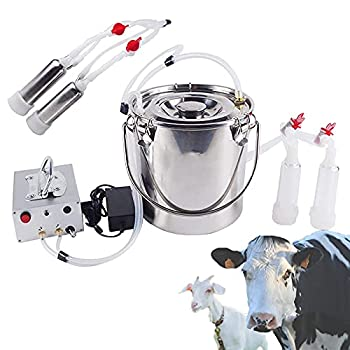TZUTOGETHER Electric Milking Machine for Cows Goats Pulsation Vacuum Pump Goat Milker Automatic Adjustable Milking Equipment W/Stainless Steel Bucket for Farm Household  7L