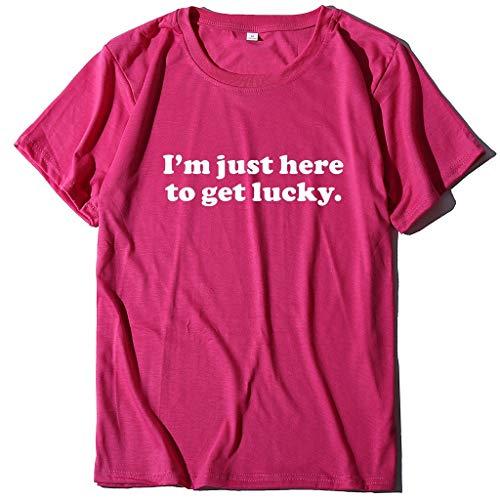 Preisvergleich Produktbild serliyDamen Lose Kurzarm T-Shirt Brief Drucke Weise Hemden Frauen beiläufige Oansatz Oberteile Mode Elegant Streetwear Sport Freizeit Festival Kleidung Bluse Tops