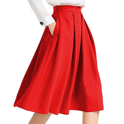 VBHJK Falda para Mujer,Rojo Cintura Alta Midi Bolsillo Plisado Elegante Clásico Primavera Otoño Versátil Falda Retro Elástica para Mujeres Fiesta De Niñas Oficina De Moda Informal,XS