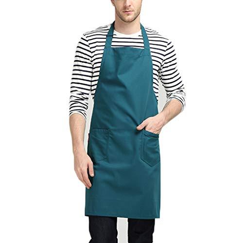 LPZ Delantal con Cuello colgado - Longitud de la Cuerda del Cabestro Ajustable con Bolsillos para Herramientas Guardapolvos de Cocina Cafetería Chef Cocina para Adultos (Color : Green)