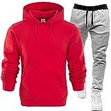 Conjunto de chándal para hombre Athletic de 2 piezas, chaqueta con capucha y pantalones deportivos, informal, holgado, manga larga, rojo, XL