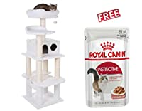 White, fluffy cat tree with warm, generously sized sitting and sleeping places Sturdily built on 4 posts: making sure the cat tree is very stable with Four different levels: for your cat's enjoyment Two toy plush balls with bells: attached with elast...