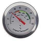 Termómetro de composta – Termómetro de acero inoxidable para el hogar y el patio trasero – 60 mm de diámetro de la esfera C y F, sonda de temperatura de 295 mm