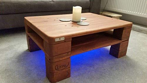 """Palettenmöbel Couchtisch LED – Beleuchtung """"Carpi""""aus Paletten als Wohnzimmertisch"""