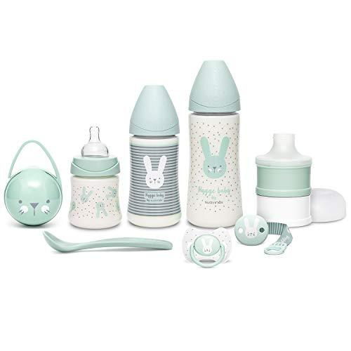 Suavinex Set Premium Recién Nacido con Biberón 150ml, 270ml y 360ml, Dosificador de leche, Chupete fisiológico -2-4 meses, Broche cinta y Cuchara, Verde