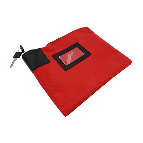 BISupply Locking Money Bag Locking Pouch Zipper Bank Bag with Lock Locking Cash Bag Lock Pouch Lock Bag in Red