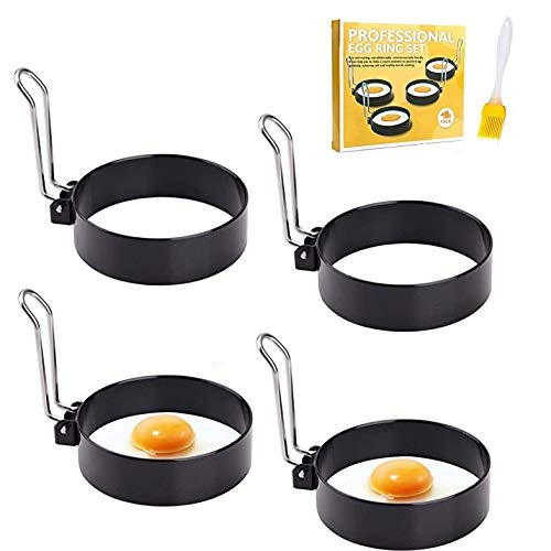 Egg Rings Non Stick 4 Pcs Stainless Steel Egg Ring Metal Egg Mold Perfect Flip Pancake Mould Ring Egg Poacher for Frying Fried Eggs, Pancakes, Mcmuffin, Omelettes, Crumpets, with Silicone Brush
