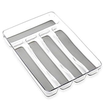 BINO 5-Slot Silverware Organizer Light Grey - Utensil Drawer Organizer with Soft Grip Lining