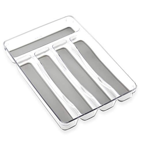 BINO 5-Slot Silverware Organizer, Light Grey - Utensil Drawer Organizer with Soft Grip Lining