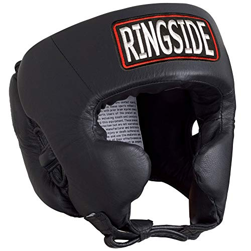 Ringside Competition-Like Boxing Headgear with Cheeks, Black, Medium