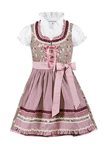 Stockerpoint Mädchen Kinderdirndl Emma Kleid für besondere Anlässe, nuss-Bordeaux, 98-104