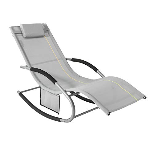 SoBuy OGS28-HG, Outdoor Garden Rocking Chair Relaxing Chair Sun Lounger with Side Bag, Grey