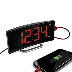 Marathon USB Charging Alarm Clock, with Dimmable Curved Screen. 2 Alarms and Snooze Function. Battery Backup Included (Black/Red)