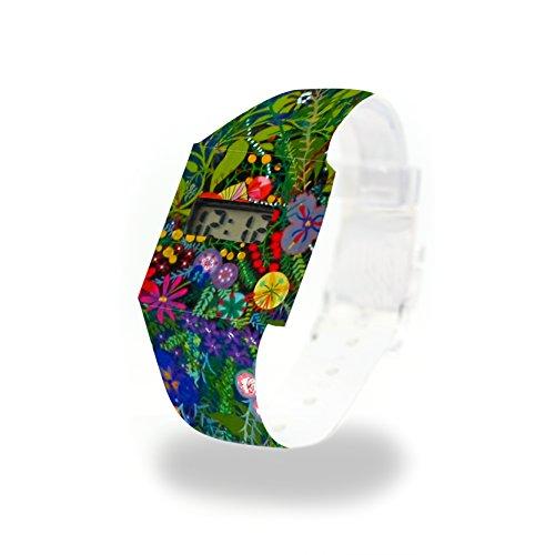 WILD FLOWERS - Pappwatch - Paperwatch - Digitale Armbanduhr im trendigen Design - aus absolut reissfestem und wasserabweisenden Tyvek® - Made in Germany , absolut reißfest und wasserabweisend