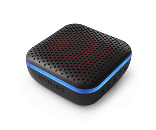 Philips Audio Bluetooth Lautsprecher S2505B/00 mit LED-Leuchten (Integriertes Mikrofon, Robust und IPX7-wasserdicht, 10 Stunden Spielzeit, 20 m Reichweite) Schwarz - 2020/2021 Modell