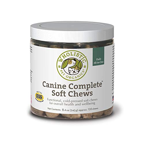 Wholistic Pet Organics Canine Complete: Dog Multivitamin Soft Chews for Total Body Health - Dog Supplement with Vitamins  Minerals  Prebiotics  Probiotics  Antioxidants and More - 2 Gram  120 Count