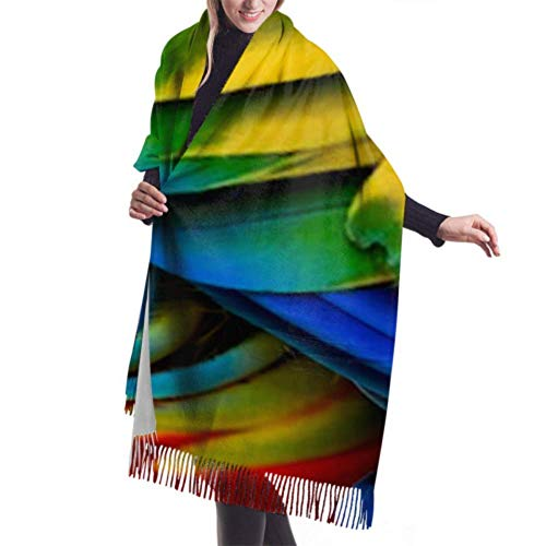 Tapestry,Blanket,Dresses Accessories,Fringed Scarf,Close Scarlet Macaw Birds Feathers Premium Large Scarf Women Scarves