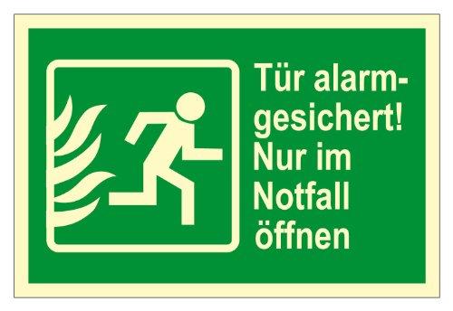 Rettungswegschild - Rettungswegzeichen - Tür alarmgesichert! Nur im Notfall öffnen - Kunststoff - 20 x 30 cm
