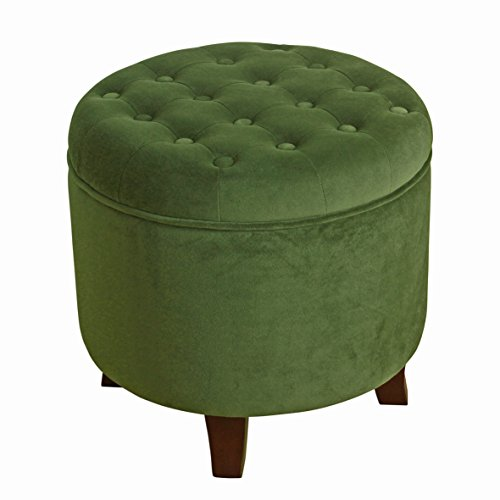 HomePop Velvet Button Tufted Round Storage Ottoman with Removable Lid, Green