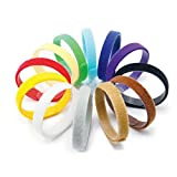 AsyPets 12 Colors Adjustable Puppy ID Bands Collars, Soft & Reusable Puppy Identification ID Collars, 13.77' x 0.39' (35 cm x 10 mm)