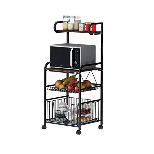 ZGQA-GQA Servicio Carro de cocina Tipo de piso vegetal 4 capas de los hogares y de la fruta de microondas de almacenamiento en rack móvil de múltiples funciones de la carretilla (Negro, 110 * 50 * los