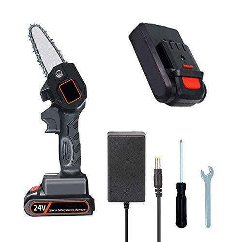 Mini Elektrische Kettensäge, TZUTOGETHER 4 Zoll Akku Kettensäge Hochleistungsmotor | Einstellbare Geschwindigkeit Tragbare Astschere Kettensäge leicht für das Schneiden von Ästen, Gartenschnitt