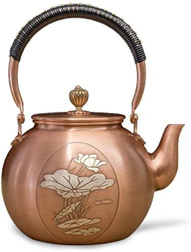 Tetera, de Plata Dorada de Loto de Cobre púrpura del pote, Regalos Hechos a Mano ollas, Caldera de té de té Productos for el hogar / A1 / 1.4L (Color: A1, Tamaño: 1,4 L), Tamaño: 1,4 L, C