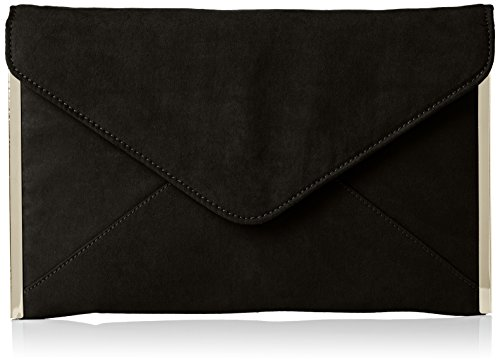SwankySwans Damen Louis Suede Slim Envelope Party Prom Clutch Bag Tasche, Schwarz (Schwarz), One Size