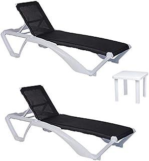 resol set de 2 tumbonas jardín exterior Acqua estructura blanca, textilene negro y 1 mesa auxiliar Andorra blanca