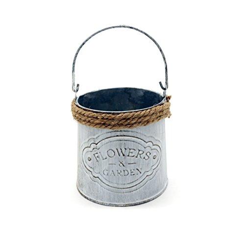 CVHOMEDECO. Mini maceta rústica para jardín con cuerda de cáñamo, maceta de metal para...