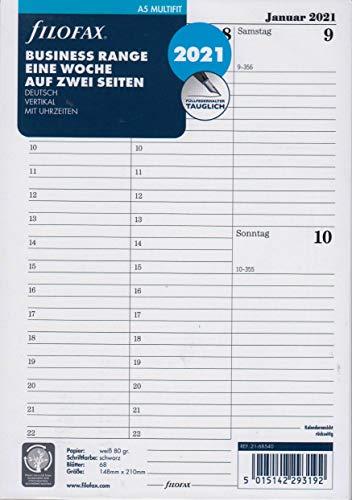 Filofax 2021 A5 Kalender Kalendarium 1Woche 2Seiten Wochenblätter Einlage DEU 21-68540