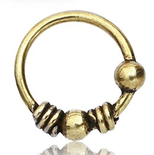 Nostril Piercing Messing Nasenstecker Nasenringe Nasen Pins gold Kugeln Spiralen | Nasenschmuck Stabdicke ca. 0,8mm 1mm | unisex Damen Herren Tribal Design Nasenpiercing Ring (Spiralen Kugeln)