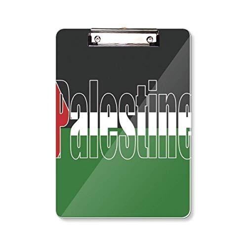 Palestijnse Land Vlag Naam Klembord Map Schrijven Pad Achterplaat A4