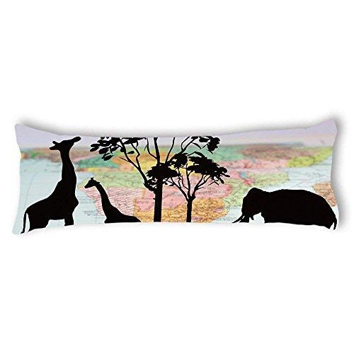 Xanthe88Eliot Funda de almohada para cuerpo de embarazo, diseño de jirafas y elefante, sedosa, de satén, suave, funda de almohada, 50,8 x 137,1 cm