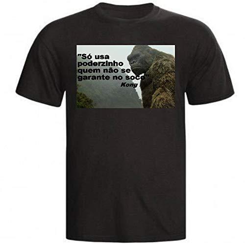 Camiseta E Babylook Godzilla King Kong Filme Monstros Lendas meme (Camiseta - P, Preto)