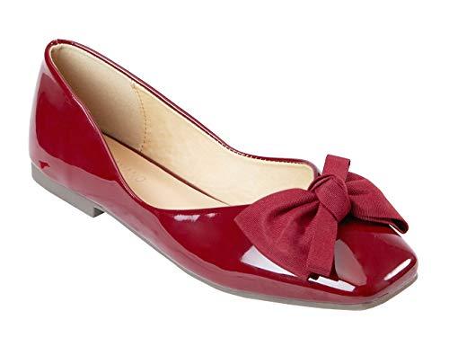 C.PARAVANO Damen Schuhe Ballerinas Schöne Bowknot mit Bequeme Square Toe Ballet Flat Pumps mit Glanzendem Lackleder Slipper.(GRÖSSE 39, Rot)
