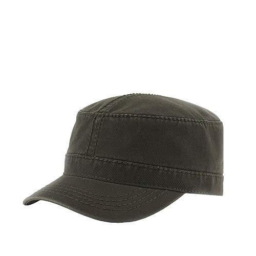 The Vintage Year Washed Cadet Cotton Twill Adjustable Military Radar Caps (Dark Olive Green Heavy Stitching)