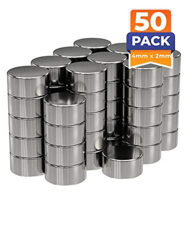 50 x Discos magnéticos de neodimio | Imán / Imanes | Diámetro Ø 4 mm, altura 2 mm | niquelados (NiCuNi) | Fuerza de sujeción (fza. sujec.): aprox. ~ 0.42 kg | 50 uds. Disco magnético